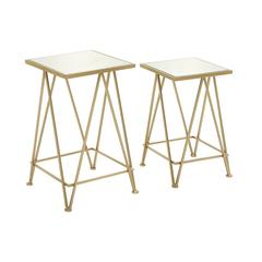 Attractive Metal Mirror Accent Table Set Of 2