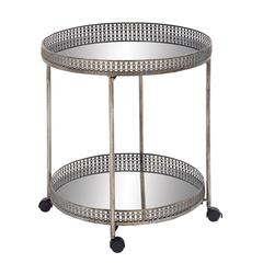 Benzara Magnificent Styled Metal Mirror Bar Trolly