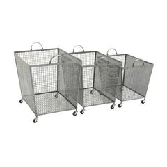 Benzara Superb Set Of 3 Metal Roll Storage Bin