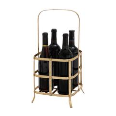 Benzara Golden Hue Classy Metal Wine Bottle Holder