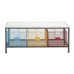 Strongly Built Metal Wood Storage Bench