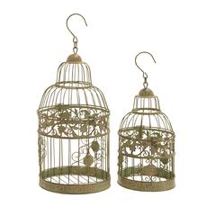 Metal Birdcages In Dull Gold Antique Polish - Set Of 2