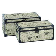 Wood Burlap Trunk S/2 Set Of Two Easy To Place Anywhere Trunks
