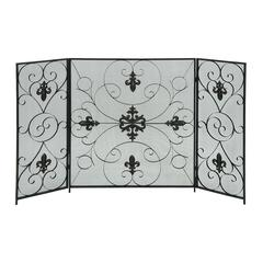 32 Inches High Metal Fire Screen Black And Gray