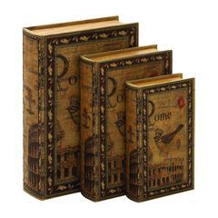 "Benzara Library Storage Books - Wood Book Box Set/3 13"", 11"", 9""H"