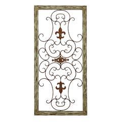 Benzara Wooden Gate Style Fleur-De-Lis Wall Plaque