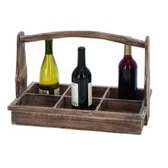 Useful And Portable Wine Bottle Basket With Aged Wood
