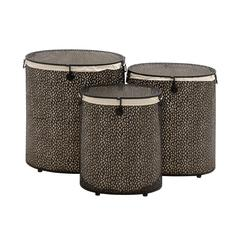 Benzara The Charming Set Of 3 Metal Oval Hamper