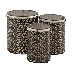 The Bright Set Of 3 Metal Round Hamper
