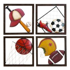 Metal Baseball Decor Set Of 4 Assorted Passion For Baseball