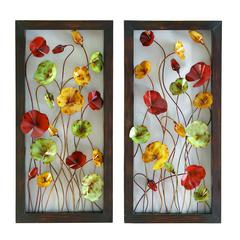 Metal Wall Plaque 2 Asst Set Of Two Plaques Multi Color