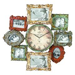Benzara Metal Clock Photo Frame With Dual Purpose