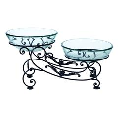 Benzara Glass Metal Double Bowl 23 Inches Wide