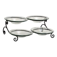 Benzara Customary Styled Metal Glass 4 Bowl Server