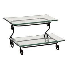 Benzara Stupendous Metal Glass 2 Tier Server