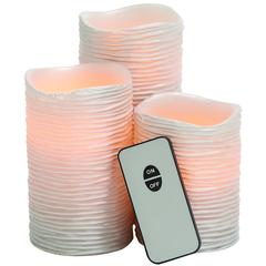 Benzara Pinkish Styled Led Wax Candle Remote Set