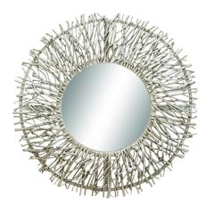 Benzara Metal Wood Mirror Check Personal Appearance