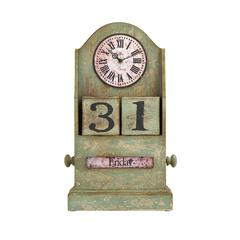 Benzara Countryside Themed Table Top Clock With Calendar