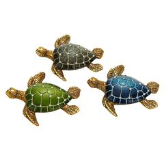 "Benzara Table Top Polystone Turtle 3 Assorted 5""W, 1""H Statue"