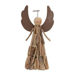 "Wood Style Contemporary Angel With Halo 18""H, 9""H"