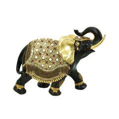 Benzara Polystone Elephant Distinctive And Elegant With Gold Detail