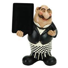 Benzara Polystone Waiter W/Chalkboard Come To Dine