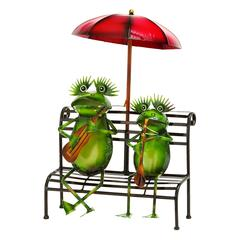 Benzara Outdoor Decor Practicing Musician Garden Frogs