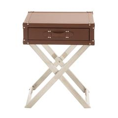 Benzara Classy Stainless Steel Wood Vinyl Side Table