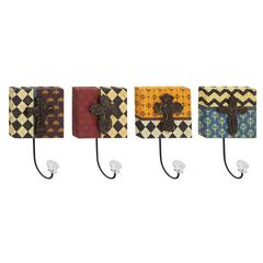 Wood Metal Acrylic Wall Hook Set Of 4