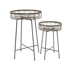 Benzara Classy Unique Styled Metal Planter Stand Set Of 2