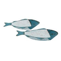 Benzara Creative Blue Polished Metal Tray Set Of 2