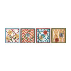 Floral Patterned Metal Wall Decorative 4 Assorted