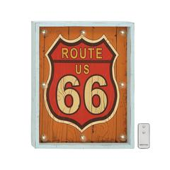 Benzara Route Us 66 Wood Led Wall Art With Remote