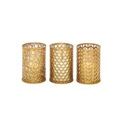 Benzara Classy Metal Glass Candle Holder 3 Assorted