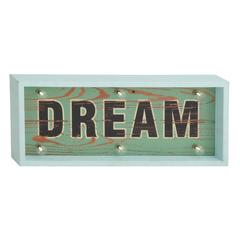 "Glowing Wood Led Dream Sign 22""W, 10""H"