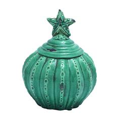 Benzara Ceramic Jar With Star Shaped Design And Glossy Finish