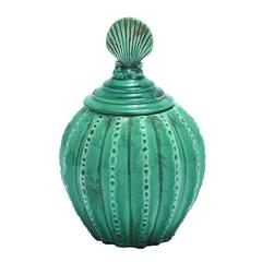 Benzara Jar With Vibrant Blue Color And Weathered Finish
