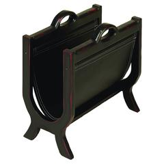 Benzara Wood Leather Magazine Holder With Leather Cover