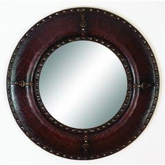 Leather Mirror With Leather Finish And Brass Metallic Rivets