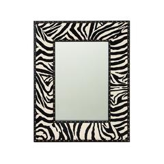 Benzara Varnished Wood Leather Mirror 24 Inches Wide