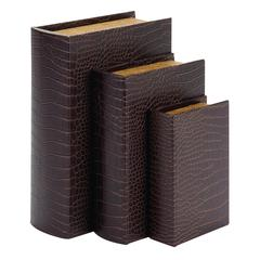Wood Leather Book Box Set Of 3 Beautifully Carved