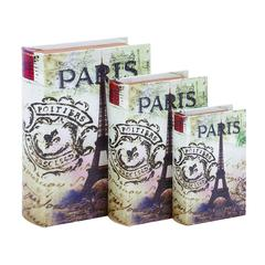 Wood Leather Book Box S/3 With Print Of 'Paris'