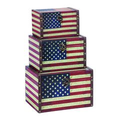 Wood Leather Box S/3 With Us Flag Colors