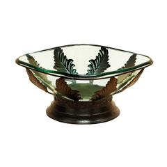 Benzara 17 Inches Wide Giant Glass Bowl Metal Stand