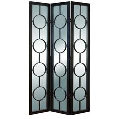 Benzara Wood Metal Glass 3 Panel Screen A Decorative Privacy Screen