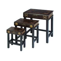 "Benzara Wood Leather Book Table Set/3 24"", 19"", 15""H Accent Collection"