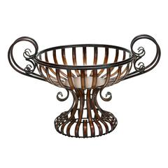 Benzara Metal Bowl With Elevated Base