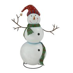 Smiling And Adorable Metal Snowman