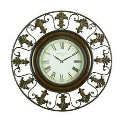 Metal Wall Clock With Round Flower Themed Border