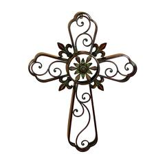 Metal Cross Decor With Religious Blend